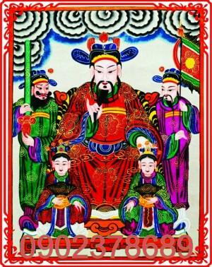 Ngũ Công Vương Phật .Đức Thánh Trần Trong Tranh Thờ Dân Gian  25x32cm